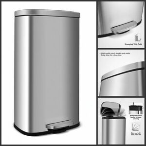 Trash Can 8 Gallon Stainless Steel Garbage Bin Silent Step Home Kitchen Office
