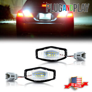 2x For 2003 2017 Honda Accord Sedan Bright White Led License Plate Lights Lamps