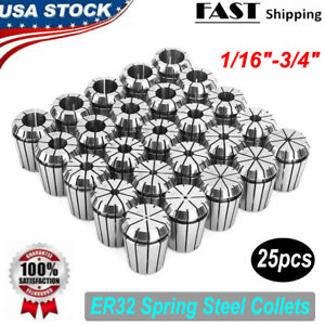 Accurate Er32 Collet 25pc Set 1 16 3 4 By 16th And 32nd Industrial Grade New