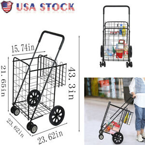 Utility Shopping Cart Foldable Jumbo Basket Outdoor Grocery Laundry W Wheels Us