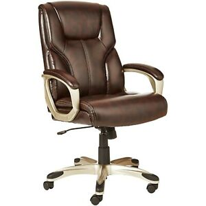 Brown Desk Chair Leather Gaming Computer Chairs Executive Office Home Wide Seat