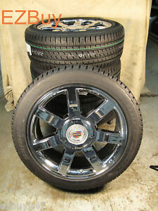 22 Escalade Factory Chrome Wheels 285 45 22 Bridgestone Tires 5309 New Set Of 4