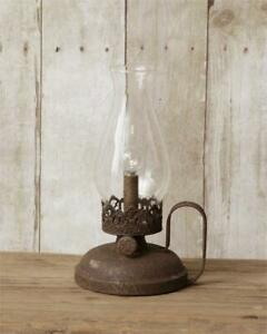 Rustic New Led Oil Lamp Accent Light In Distressed Tin Battery Operated