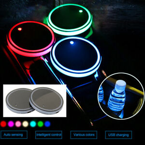 2pcs 7 Colors Led Car Cup Bottle Holder Mat Coaster Pad Atmosphere Lights Decor