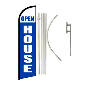 Windless Banner Flag Pole Kit Feather Flag Ground Spike Real Estate Open House