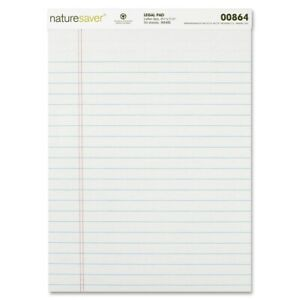 Nature Saver Recycled Legal Ruled Pad 12 dozen White