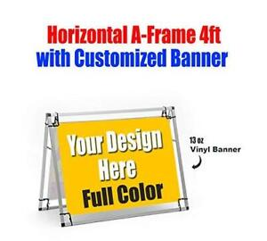 Customized Outdoor 13oz Vinyl Banner Horizontal A frame 4ft Included 2 Banners