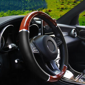 New Wood Grain Steering Wheel Cover For Car Auto Suv Lux Grip Black Syn Leather