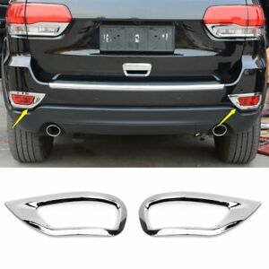 Chrome Rear Fog Light Lamp Cover Guard Trim For Jeep Grand Cherokee 2014 2017
