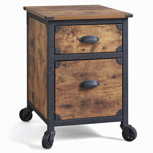 Antiqued Wood 2 Drawer File Cabinet Rustic Country W Metal Framing And Wheels