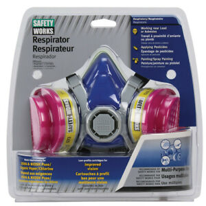 Half Face Respirator Lead paint Osha ov Rated Safety Works Swx00320 Medium