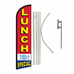 Windless Banner Flag Pole Kit Feather Flag Ground Spike Business Lunch Special