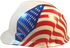Msa Freedom Series Cap Style Hard Hat Staz On Liner Dual American Flags