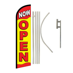 Windless Banner Flag Pole Kit Feather Flag Ground Spike Open Welcome Now Open