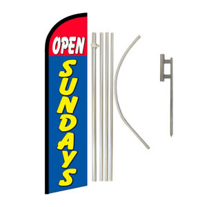 Windless Banner Flag Pole Kit Feather Flag Ground Spike Open Welcome Open Sunday