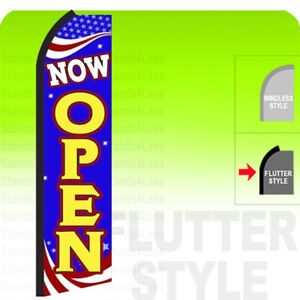 Now Open Swooper Flag Feather Banner Sign 3x11 5 Tall Bz0 Flutter Style