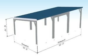 32 x18 x9 Carport Steel Building Kit 3 Stall Car Garage Leanto Metal Building