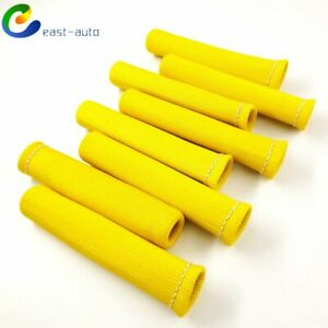 Yellow 8pcs 1200 Spark Plug Wire Boots Heat Shield Protector Sleeve Sbc Bbc