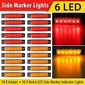 10x Amber 10x Red 12v 6 Led Side Marker Indicator Lights Car Truck Trailer Us
