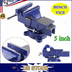 5 Bench Vise Work Table Bench Clamp Swivel Rotated Woodworking Heavy Duty Usa