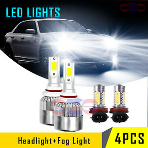 For 2011 2015 Chrysler 300 Led Headlight Hi lo fog Light Combo Bulbs 4pcs White