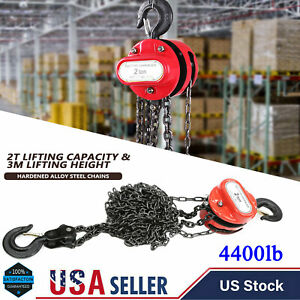 2 Ton 4400 Lb Chain Puller Block Fall Chain Lift Hoist Hand Tool Chain With Hook