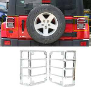 Steel Tail Light Guard Cover Protector For Jeep Wrangler 2007 17 Powder Coated