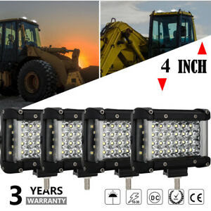 4x 4 Inch 72w Led Work Light Bar Spot Flood Offroad Truck Atv Reverse Fog Lights