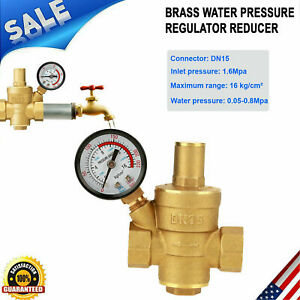 Dn15 Brass Adjustable Npt 1 2 Water Pressure Reducer Regulator Gauge Meter