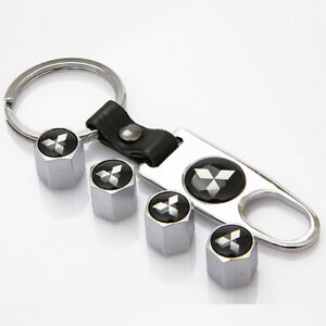 Chrome Mitsubishi Bk Emblem Car Wheel Tire Tyre Valve Stems Caps W Keychain Us