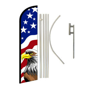 Windless Banner Flag Pole Kit Feather Flag Ground Spike Country State Usa Eagle
