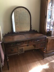Antique Walnut Vanity Dresser W Mirror