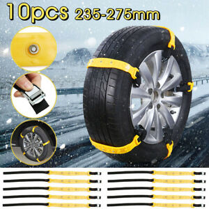 10pcs Car Snow Chains Tire Anti Skid Thickened Tendon Wheel Belt Winter