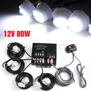 80w 4 Led Bulbs White Hide A Way Emergency Warning Strobe Light Lamp System Kit
