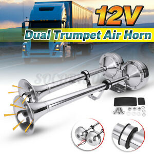 12v 125db Electric Air Horn Loud Dual Trumpet Stainless Steel Boat Train