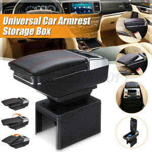 Universal Car Center Armrest Console Storage Organizer Box Cup Holder Leather