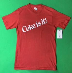 Vintage Coca-Cola T-Shirt Coke Is It! Medium Red  80s