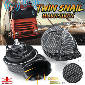 12v Electric Horn Air Twin Snail Siren Loud Dual Tone Fittings Truck Van