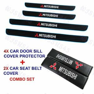 4pcs Blue B Car Door Scuff Sill Cover Panel Step Protector Combo For Mitsubishi