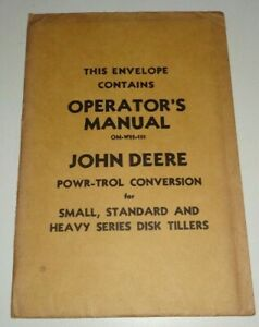 John Deere Powr trol Conversion for Disk Tillers Operators Manual Nos Unopened
