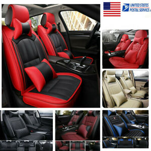 11pcs Pu Leather Car Seat Cover Waterproof Protector Cushion Front Rear Full Set