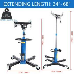 Blue 1100lbs 2 Stage Hydraulic Transmission Jack 360 Swivel Wheels Lift Hoist