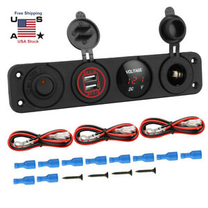 Red Led Voltmeter Cigarette Lighter Switch Panel Dual Usb Car Boat Marine 12 24v