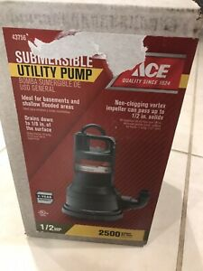 Ace 43756 1 2hp Submersible Utility Pump 2500 Gph Non clogging Vortex New