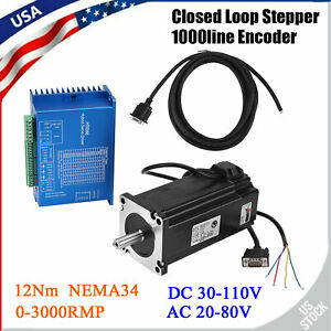 Nema34 Closed Loop Stepper Encoder Motor 12nm Driver Hss86h Hybrid Servo Driver