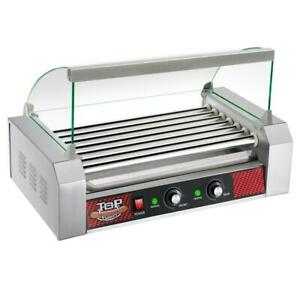 Stainless Steel Commercial 1400w 18 hot Dog 7 roller Grilling Machine With Cover