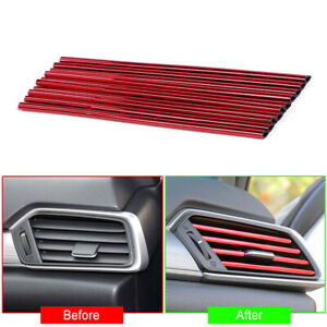 Red 10 Pcs pack Auto Car Accessories Air Conditioner Air Outlet Decoration Strip