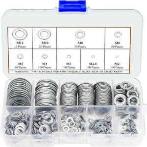 600x 304 Stainless Steel Assorted Washers Metric Flat Washer Tool M2 m12 Set Gt