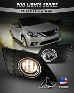 For 16 19 Nissan Sentra Fog Lights Assembly Clear Lens Pair Bulbs Wiring Switch