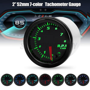 Universal 2 52mm Car Tacho Tachometer Rpm Gauge Meter 7 Color Led Tinted Face
